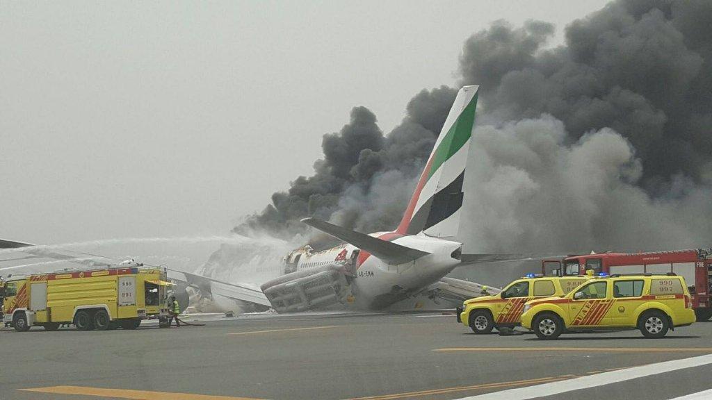 Emirates plane burst into flames