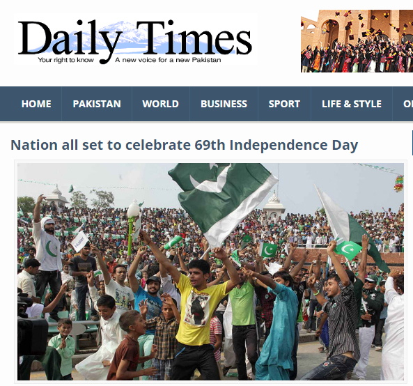 This is what we found on the home page of Dailytimes