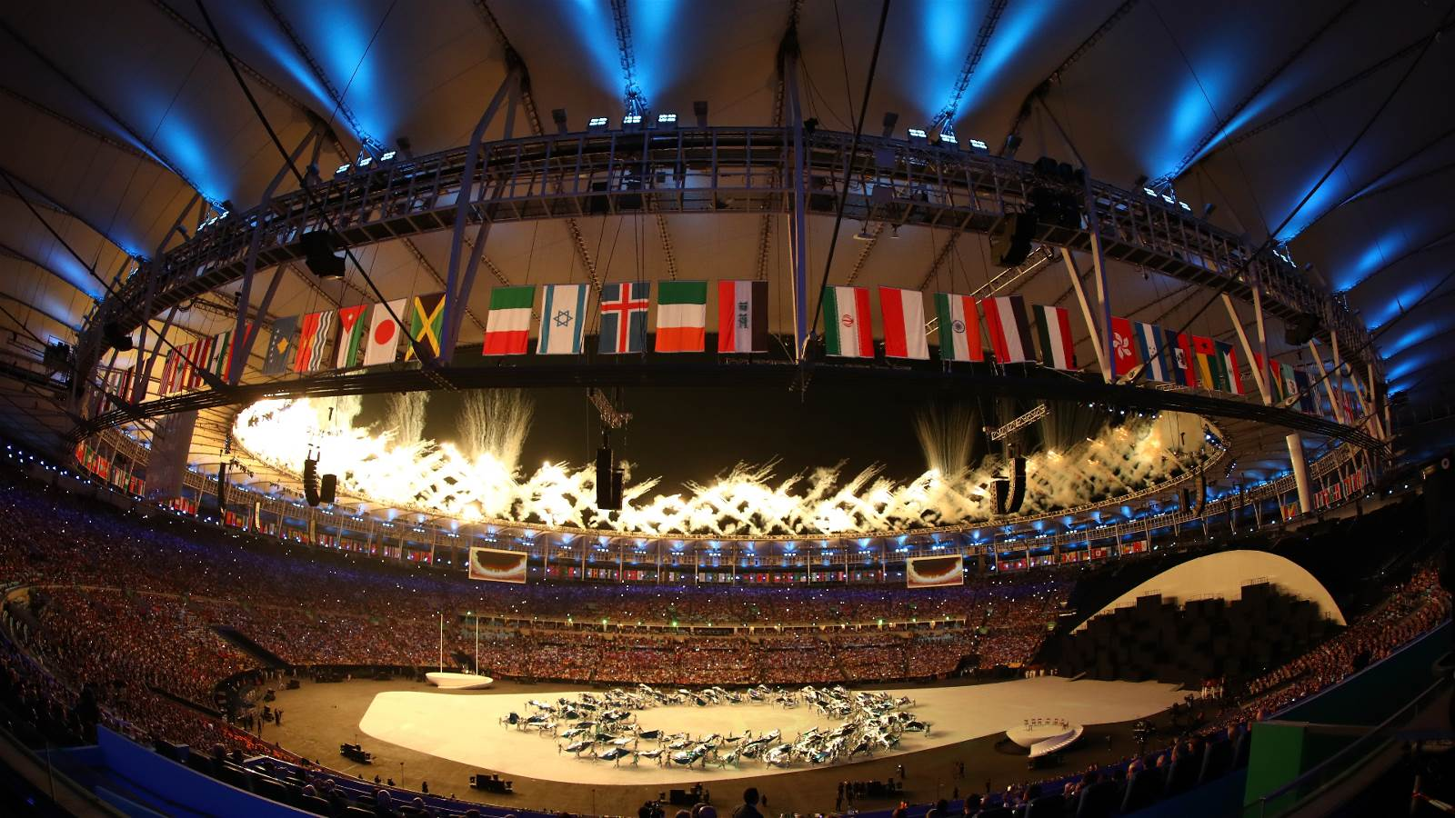 The Rio 2016 Olympic Games Opening Ceremony begins at the Maracanã stadium under the flags of all the competing nations. Credits: (Getty Images/Clive Mason)