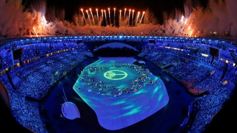 Fireworks explode during the Rio 2016 Opening Ceremony at the Maracanã stadium. (Getty Images/Clive Brunskill)