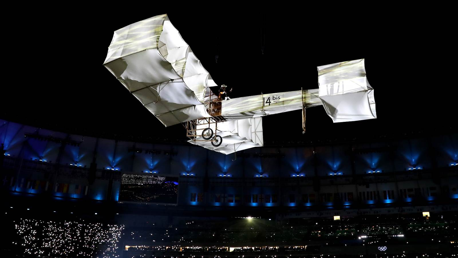 Alberto Santos-Dumont, known in Brazil as the 'Father of Aviation', is represented at the Opening Ceremony. (Getty Images/Ezra Shaw)